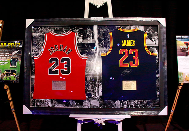 Signed sports memorabilia on display at fundraising auction
