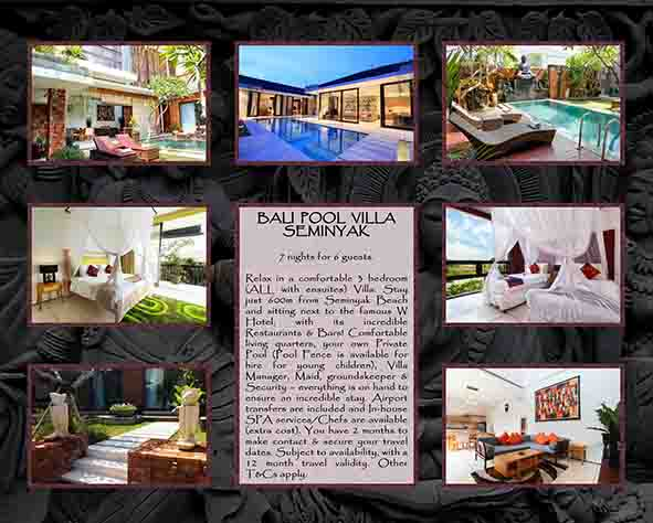 Auction item ideas for silent auctions: Bali Pool Villa Seminyak (7 nights for 6 guests)