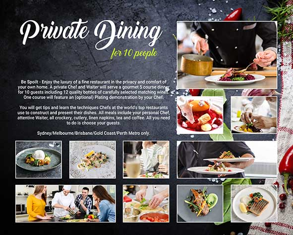 Items for auction fundraiser: Private Dining Experience for 10 people